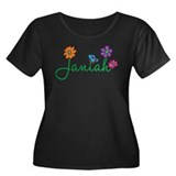 Janiah Flowers Women's Plus Size Scoop Neck Dark T