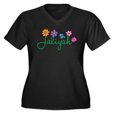 Jaliyah Flowers Women's Plus Size V-Neck Dark T-Sh
