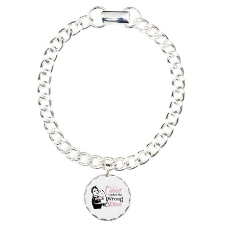 Wrong Diva Breast Cancer Charm Bracelet, One Charm