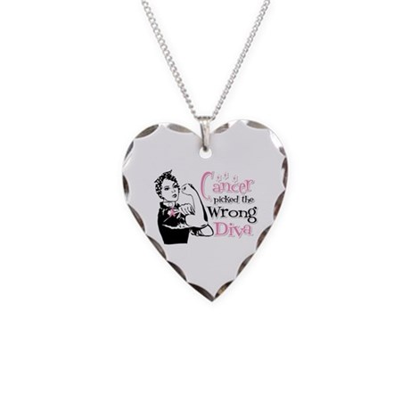 Wrong Diva Breast Cancer Necklace Heart Charm