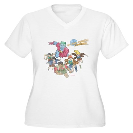 By Our Powers Combined Womens Plus Size V-Neck T-