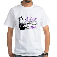 Wrong Diva Pancreatic Cancer White T-Shirt