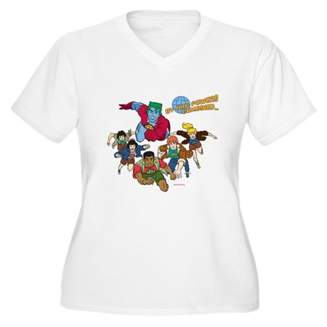 Captain Planet Powers Womens Plus Size V-Neck T-S
