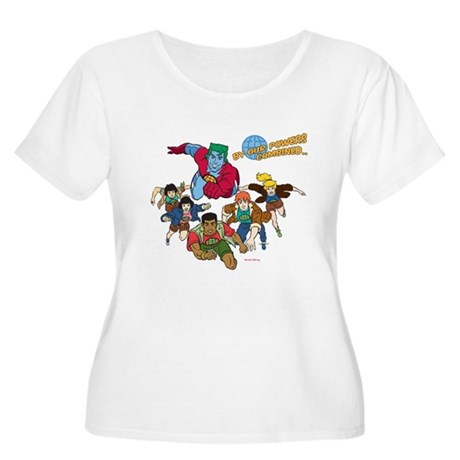 Captain Planet Powers Womens Plus Size Scoop Neck