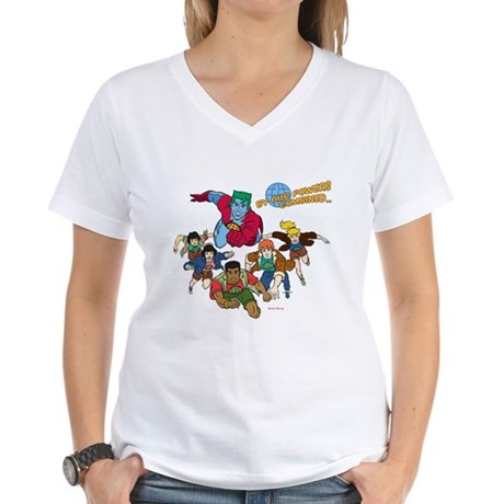 Captain Planet Powers Womens V-Neck T-Shirt