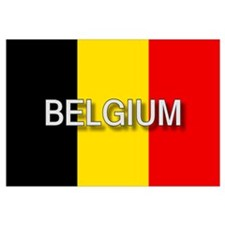 Belgium Flag with Label