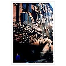 """""""Brick Red White Light Shades of Blue"""" Framed Pane"""
