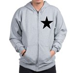 Black 5-Pointed Star Zip Hoodie