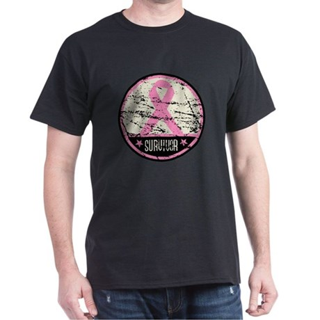 Breast Cancer Survivor Grunge Dark T-Shirt