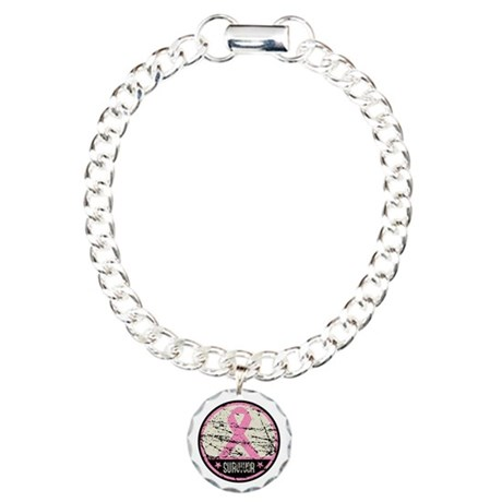 Breast Cancer Survivor Grunge Charm Bracelet, One