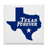 Texas Forever (Blue - Cutout Ltrs) Tile Coaster