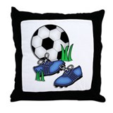 Blue Cleets Soccer Design Throw Pillow
