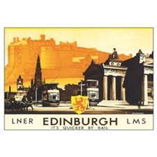Vintage Edinburgh Travel Post