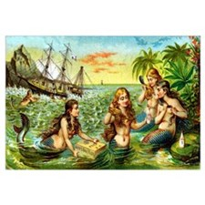 Cute Vintage mermaid Wall Art
