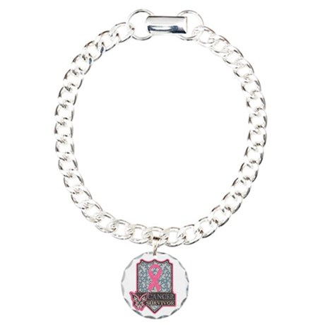 Breast Cancer Survivor Charm Bracelet, One Charm