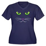 Spooky Cat Face Women's Plus Size V-Neck Dark T-Sh