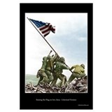Raising the Flag on Iwo Jima - Colorized (17x11)