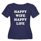 Happy Wife Happy Life Women's Plus Size Scoop Neck