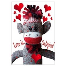 Love Is Contagious Sock Monkey Valentine Large Pos