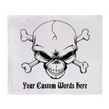 Pirate Skull with Custom Text Throw Blanket