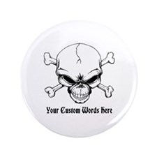 "Pirate Skull with Custom Text 3.5"" Button (100 pac"