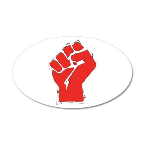 Raised Fist 38.5 x 24.5 Oval Wall Peel