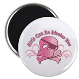 "Girls Can Be Pirates Too 2.25"" Magnet (10 pack)"