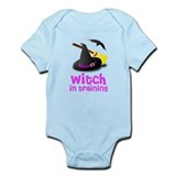 Witch in training hat broom b Onesie