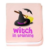 Witch in training hat broom b baby blanket
