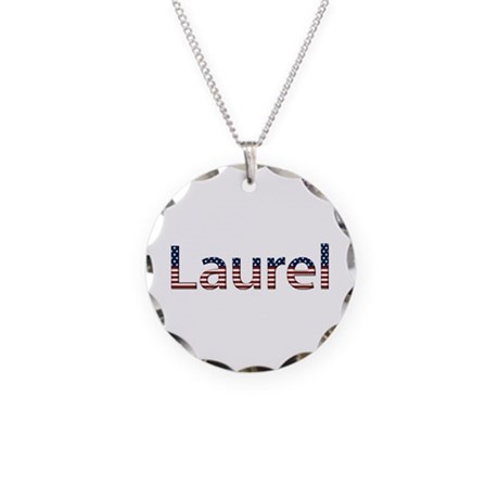 Laurel Stars and Stripes Necklace Circle Charm
