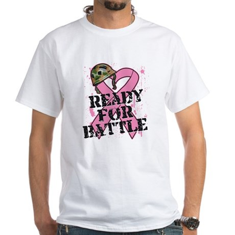 Ready For Battle BreastCancer White T-Shirt