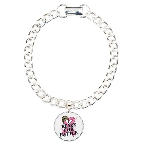 Ready For Battle BreastCancer Charm Bracelet, One