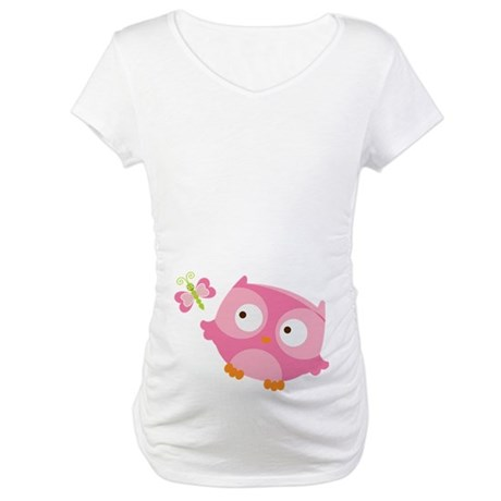 Pink Owl N Butterfly Maternity T-Shirt