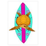 Surfing sea turtle Wall Art