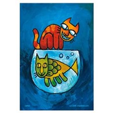 Cute Catfish cartoon Wall Art
