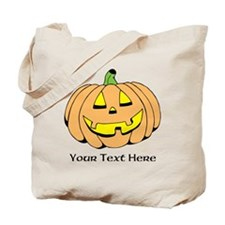 Halloween Pumpkin Custom Text Tote Bag