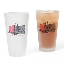 Blue Dane Holds Heart Drinking Glass