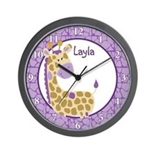 Purple Jungle Giraffe Wall Clock - Layla