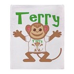 Little Monkey Terry Throw Blanket