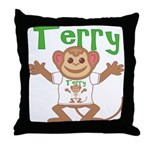 Little Monkey Terry Throw Pillow