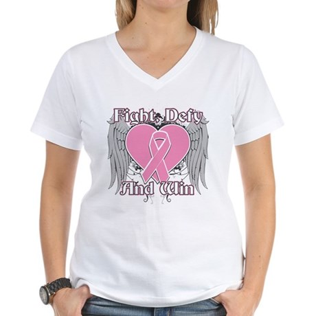 Fight Defy Win Breast Cancer Women's V-Neck T-Shir