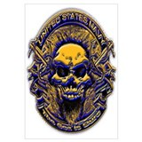 USN Navy Blue and Gold Skull