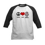 Peace love Sock Monkeys Kids Baseball Jersey