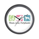 Peace, Love, Ridgebacks Wall Clock