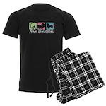 Peace, Love, Collies Men's Dark Pajamas