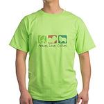 Peace, Love, Collies Green T-Shirt