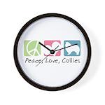 Peace, Love, Collies Wall Clock
