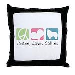 Peace, Love, Collies Throw Pillow