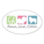 Peace, Love, Collies Sticker (Oval 10 pk)