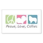 Peace, Love, Collies Sticker (Rectangle 10 pk)